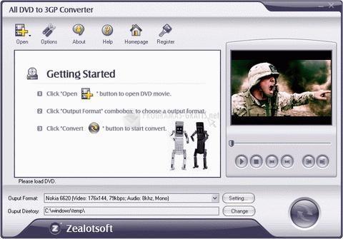 Pantallazo All DVD to 3GP Converter