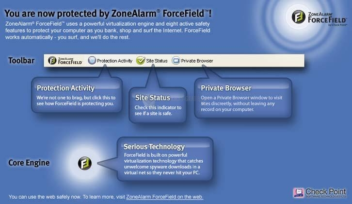 Pantallazo ZoneAlarm ForceField