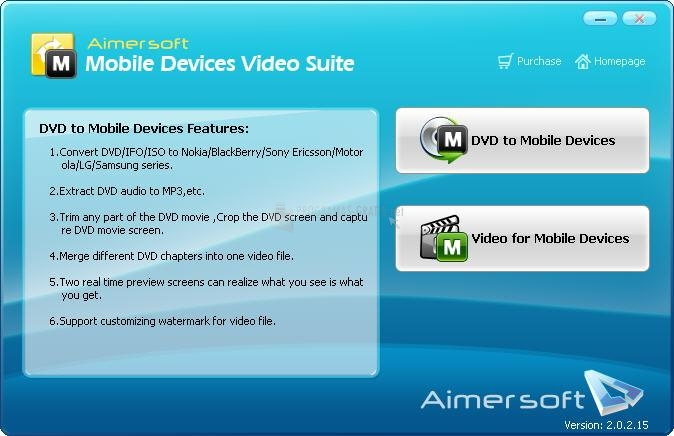 Pantallazo Aimer Mobile Devices Video Suite