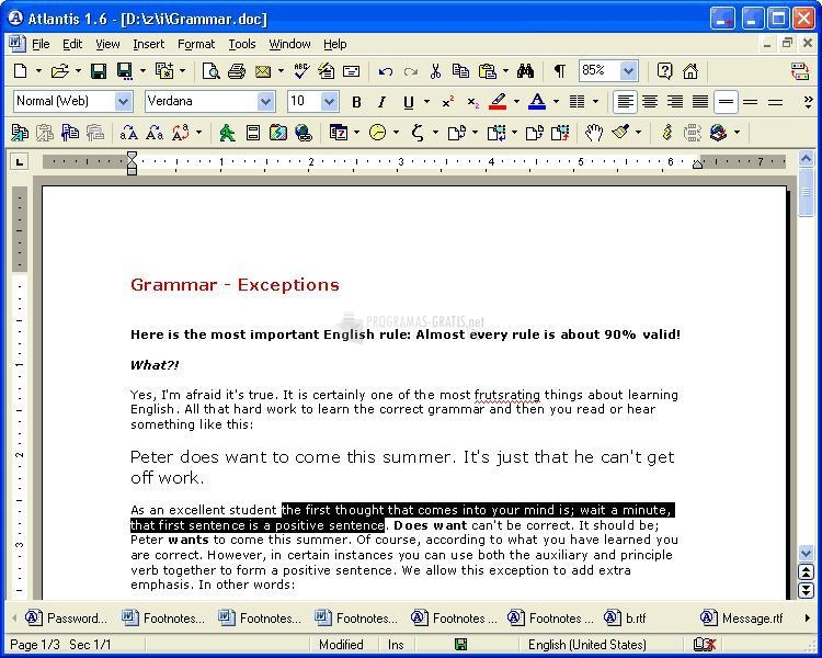 Pantallazo Atlantis Word Processor
