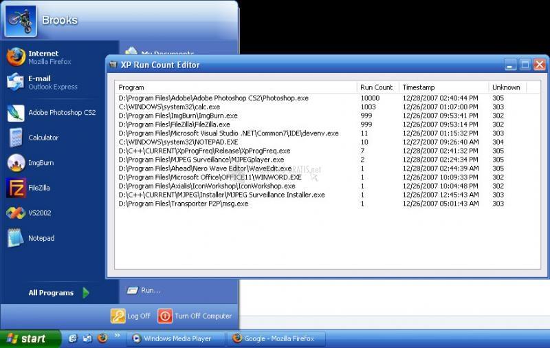 Pantallazo XP Run Count Editor