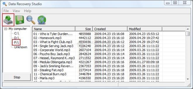 Pantallazo Data Recovery Studio