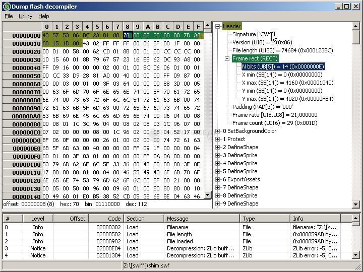 Pantallazo Dump Flash decompiler