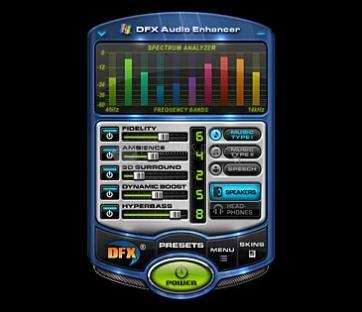 Pantallazo DFX for Windows Media Player
