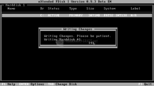 Pantallazo eXtended FDisk Beta