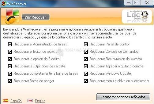 Pantallazo WinRecover