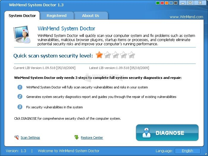 Pantallazo WinMend System Doctor
