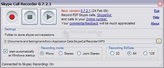 Pantallazo Skype Call Recorder