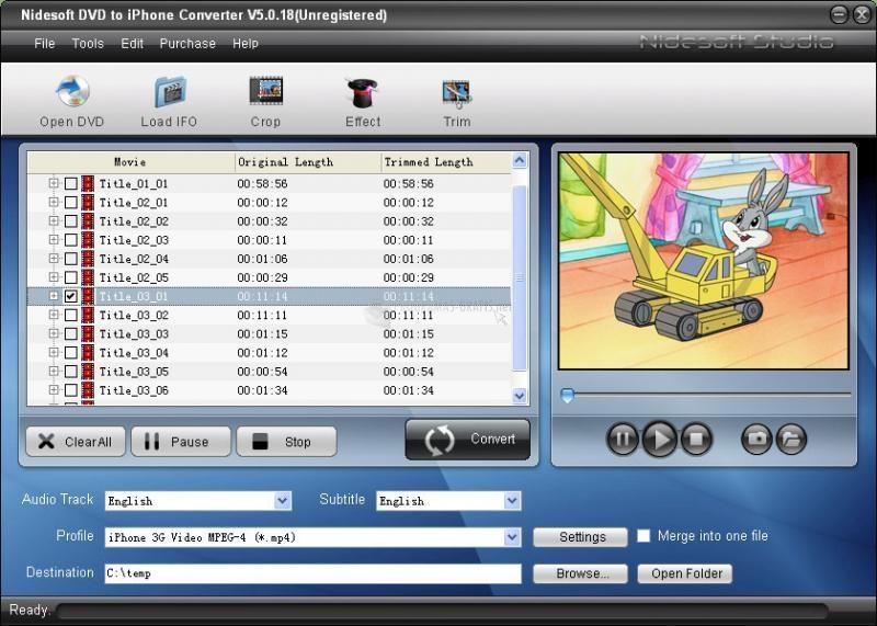 Pantallazo Nidesoft DVD to iPhone Converter