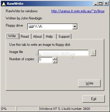 Pantallazo RawWrite for Windows