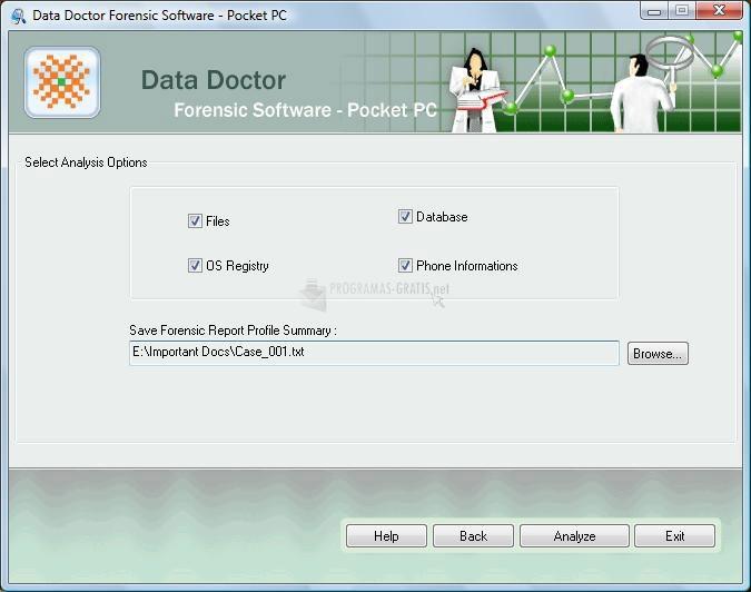 Pantallazo Pocket PC forensic software