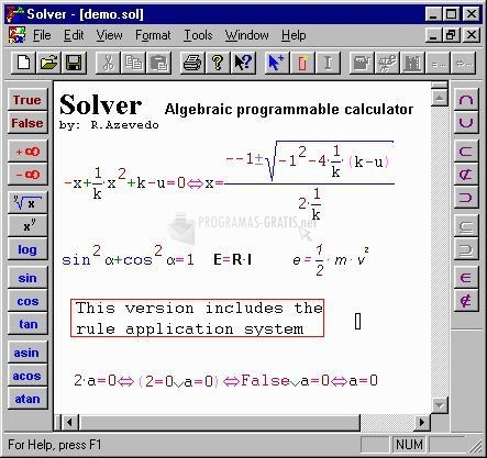 Pantallazo Equation Editor