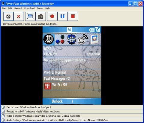 Pantallazo Windows Mobile Recorder