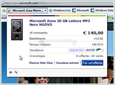 Pantallazo Internet Explorer Italiano XP