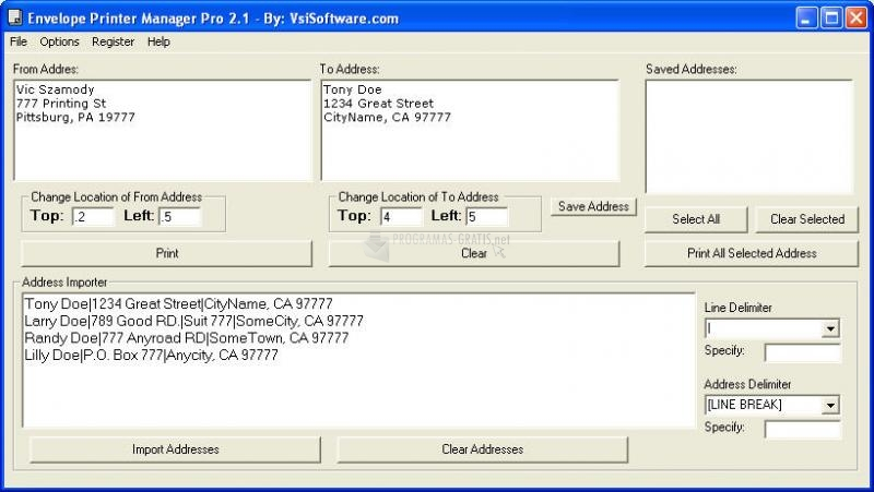 Pantallazo Envelope Printer Manager Pro
