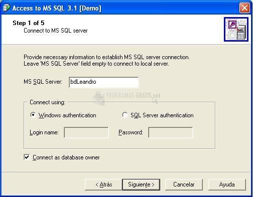 Pantallazo Access to MS SQL