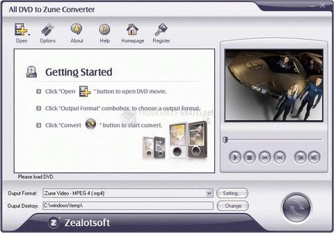 Pantallazo All DVD to Zune Converter