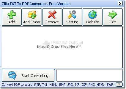 Pantallazo Zilla TXT To PDF Converter
