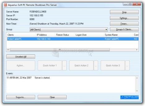 Pantallazo PC Remote Shutdown Professional