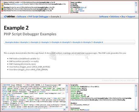 Pantallazo Atrise PHP Script Debugger