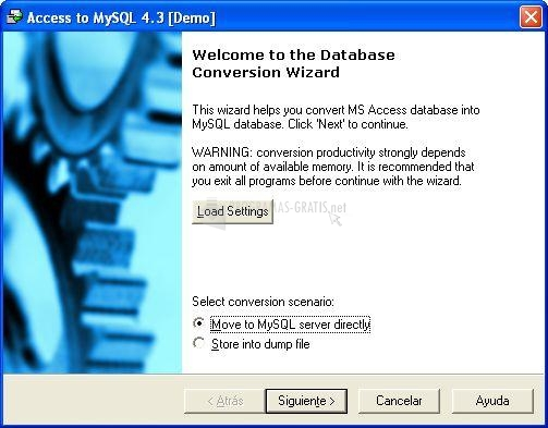 Pantallazo Convert-in Access to MySQL