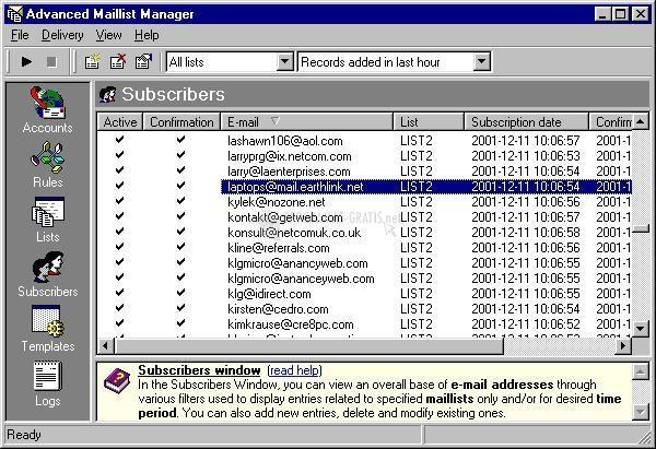 Pantallazo Advanced Maillist Manager