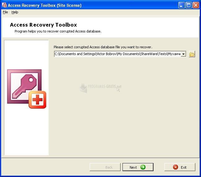 Pantallazo Access Recovery Toolbox