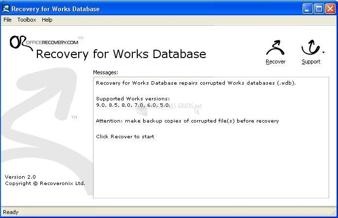 Pantallazo Recovery for Works Database