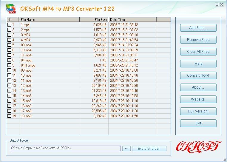Pantallazo OKSoft MP4 to MP3 Converter