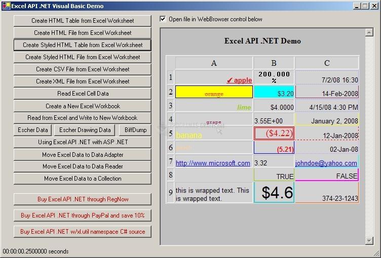 Pantallazo Excel API.NET