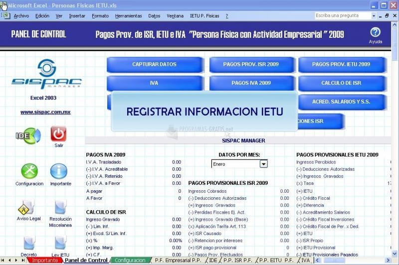 Pantallazo SISPAC Impuestos IETU, ISR e IVA