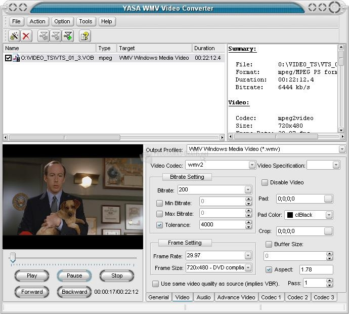 Pantallazo Yasa WMV Video Converter