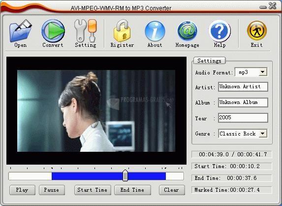 Pantallazo AVI MPEG WMV RM to MP3 Converter