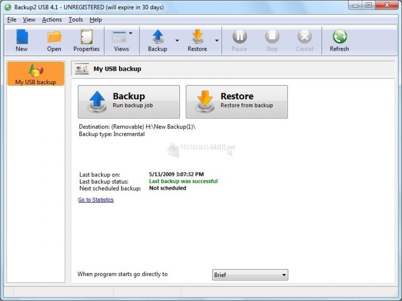 Pantallazo Backup2 USB