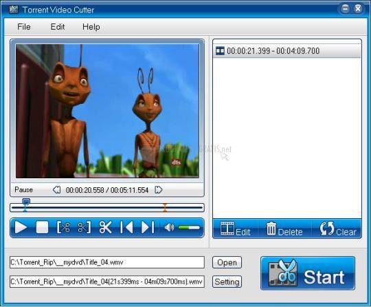 Pantallazo Torrent Video Cutter