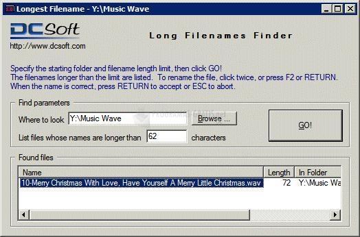 Pantallazo Long Filename Finder