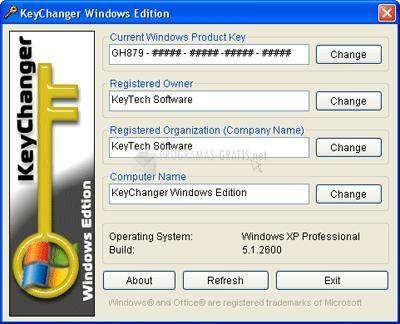 Pantallazo KeyChanger Windows