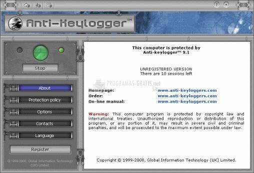 Pantallazo Anti Keylogger