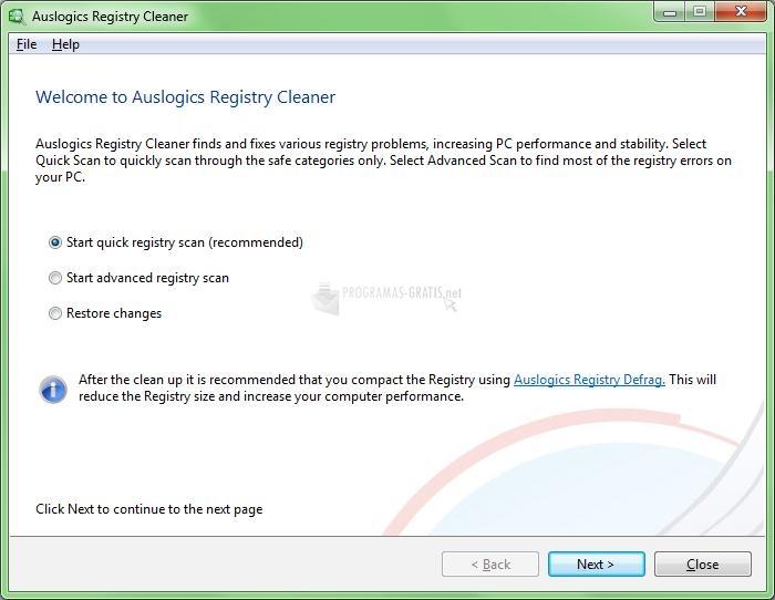 Pantallazo Auslogics Registry Cleaner