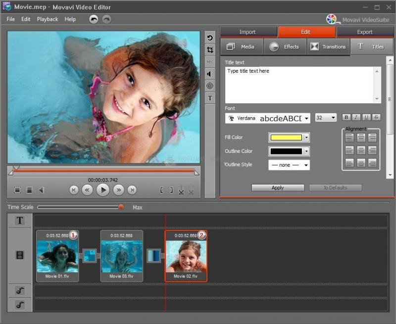 Captura Movavi Video Editor