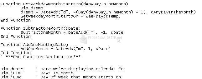 Pantallazo Foxware Calendar