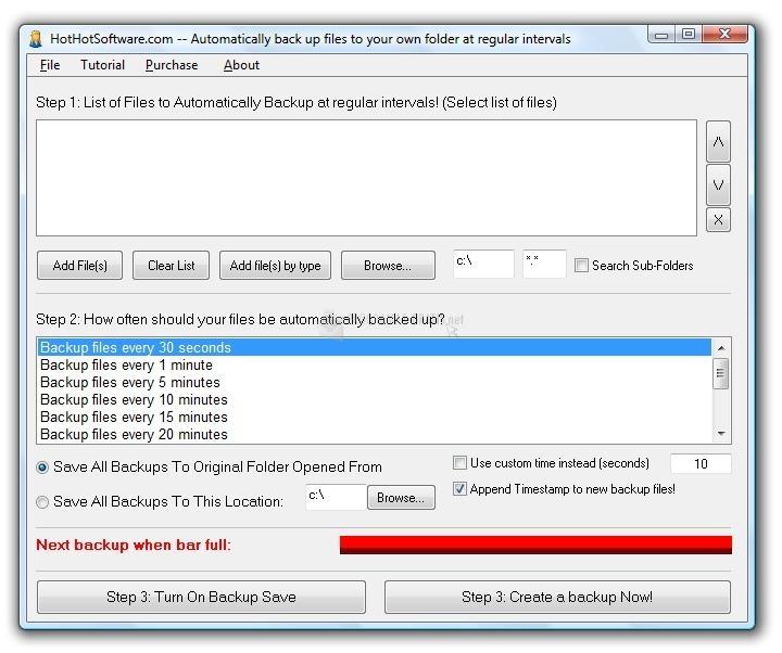 Pantallazo Automatically back up files