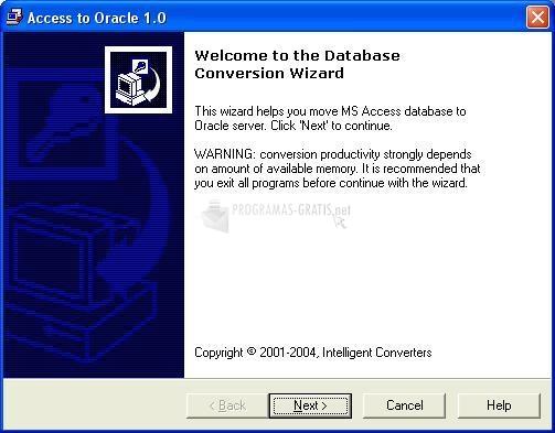 Pantallazo Access to Oracle