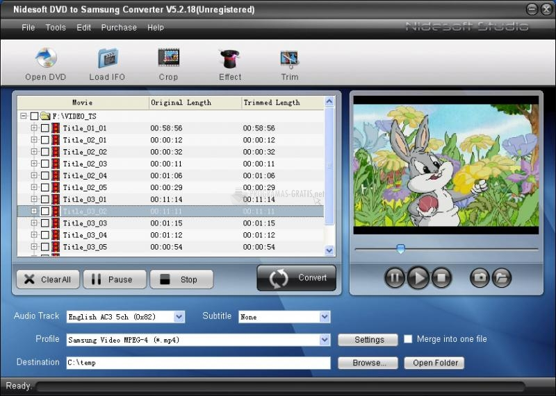 Pantallazo Nidesoft DVD to Samsung Converter