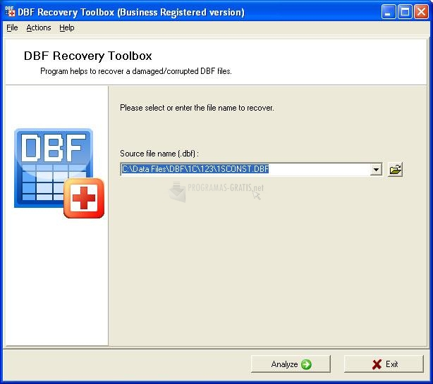 Pantallazo DBF Recovery Toolbox