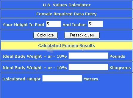 Pantallazo Ideal Body Weight Calculator