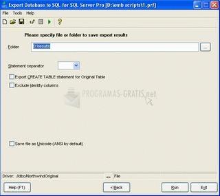 Pantallazo Export Database to SQL Pro