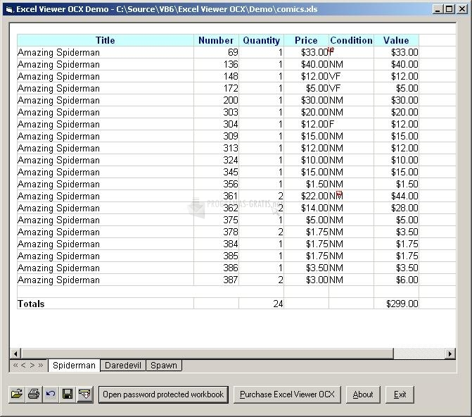 Pantallazo Excel Viewer OCX