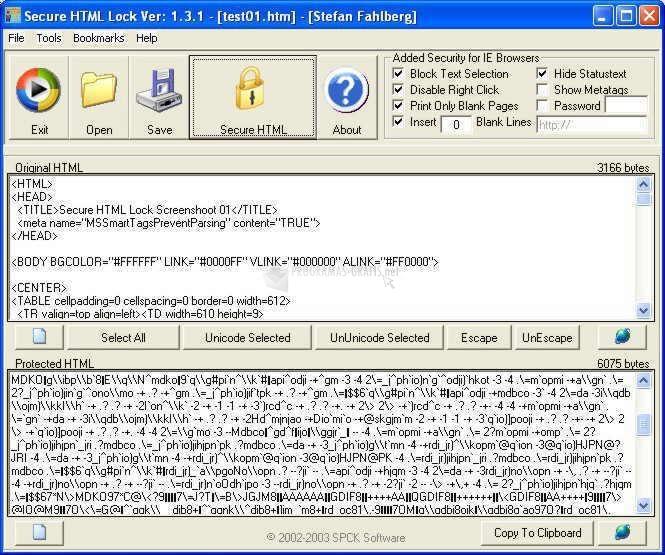 Pantallazo Secure HTML Lock