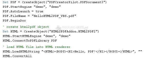 Pantallazo HTML 2 PDF Add-on